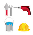 tools repair support equipment work objects vector image