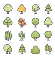 Tree Icon Bold Stroke with Color vector image