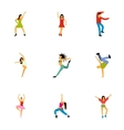 Types of dances icons set flat style vector image vector image