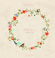 vintage wreath with foliate ornament and flowers vector image vector image