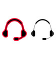 wireless gaming headphones with a microphone icon vector image vector image