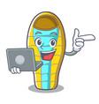 with laptop sleeping bad character cartoon vector image