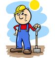 worker with spade cartoon vector image vector image