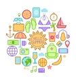 Summer Time Icons with Sea Vacation Accessories vector image