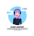 arab call center headset agent woman client vector image vector image