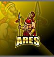 ares esport mascot logo design vector image vector image