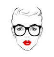 beautiful woman face with glasses art monochrome vector image vector image