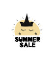 card with lettiring summer sale and cute sun with vector image vector image