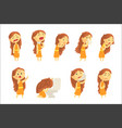 cartoon unhappy woman suffering from pain with vector image