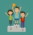 champion on the pedestal achievement awarding vector image