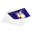 Christmas card in an envelope vector image vector image