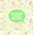 Color Sport and fitness seamless doodle pattern vector image vector image