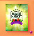 colorful fresh green poster for a farmers market vector image
