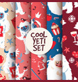 cool yeti seamless pattern set vector image