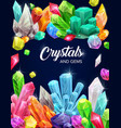 crystal gems cartoon poster with gemstones vector image vector image