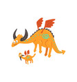 cute horned mature dragon with wings and small vector image vector image