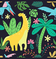 dinosaurs pattern kids in cartoon style on black vector image