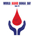 donate blood concept with abstract blood drop vector image
