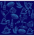 Doodle thanksgiving blue backgrounds vector image vector image