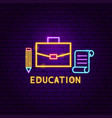education neon label vector image vector image
