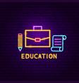 education neon label vector image