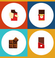 flat icon sweet set of cocoa chocolate bar vector image vector image