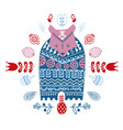 folk art ethnic style cute winter bear in vector image vector image