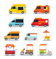 Food Vehicles Truck Van Pushcart Color Set vector image vector image