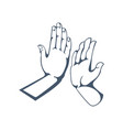 gestures get five clap in hands friendship vector image vector image