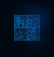 glowing low polygonal jigsaw puzzle icon of four vector image