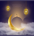 golden crescent in clouds lantern fanus and vector image vector image