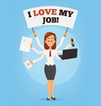 happy successful smiling businesswoman with many vector image vector image