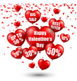 happy valentines day background with big sale bal vector image vector image
