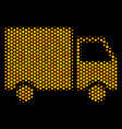 hexagon halftone shipment van icon vector image