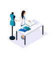 isometry of a tailor the designer takes measureme vector image vector image