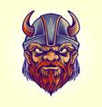 mascot viking logo helmet vector image vector image