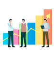 men stand near statistics chart business meeting vector image vector image