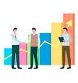 men stand near statistics chart business meeting vector image
