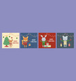 merry christmas celebration cute animals with vector image vector image