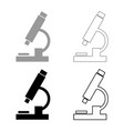 microscope icon set grey black color vector image