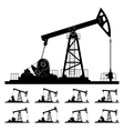 Nine Different Positions Working Oil Pumps vector image