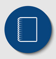 notebook simple sign white contour icon vector image vector image