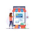 online shopping concept woman shopping vector image vector image