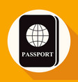 passport icon on white circle with a long shadow vector image vector image
