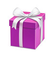pink cartoon gift box white bow vector image
