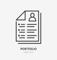 resume line icon pictograph portfolio vector image vector image