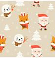 santa and arctic animal editable line detail vector image