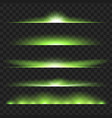 set of green glowing light effect isolated on vector image vector image
