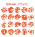 set of orange fruit stamps orange marks on paper vector image vector image
