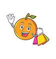 shopping orange fruit cartoon character vector image vector image